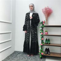 vestuário com preço de fábrica venda por atacado-Preço de fábrica Mulheres Muçulmanas Modest Lantejoulas Preto Abaya Kaftan S-2XL Plus Size Vestuário Islâmico Menina Jalabiya Caftan