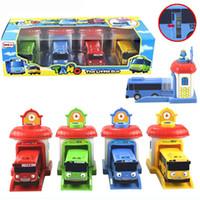 escala de modelos de plástico venda por atacado-2016 4pcs modelo Escala / set tayo os pequenos autocarros crianças ônibus em miniatura Oyuncak bebê plástico carro ônibus garagem tayo dom brinquedos de crianças