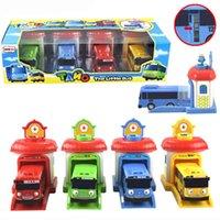 plastik otobüsler toptan satış-2016 Ölçekli modeli 4 adet / takım tayo küçük otobüs çocuk minyatür otobüs plastik bebek oyuncak garaj tayo otobüs araba çocuk oyuncakları hediye