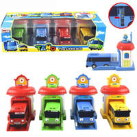 hölzerner magnetischer zugsatz großhandel-2016 maßstab 4 teile / satz tayo die kleinen bus kinder miniatur bus kunststoff baby oyuncak garage tayo bus auto kinder spielzeug geschenk