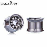 expansão, aço, plugue venda por atacado-Atacado Varejo de Prata 10-25mm Duplo Flared Helix Ear Plugs Tunnel Clear CZ Ouvidos Em Aço Inoxidável Expandir Jóias para Melhor Presente