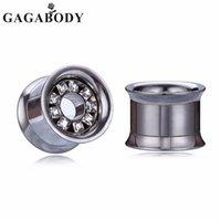 ingrosso espansione della spina d'acciaio-Vendita all'ingrosso Argento al dettaglio 10-25mm Doppio svasato Helix Ear Plugs Tunnel Clear CZ orecchie in acciaio inox Espandere gioielli per il migliore regalo