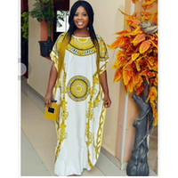 ingrosso grandi abiti sciolti-Lady Print Africa Fashion Long Dress Donna Casual Bianco Big Size Abito ampio Spring Lady Abbigliamento