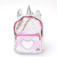 Wholesale leather satchel book bags for sale - Group buy Sequins Unicorn Backpack Hot Women PU Leather Mini Travel Soft Bag Fashion SchoolBag For Teenager Student Girls Book Bag Satchel