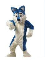 traje de raposa de alta qualidade venda por atacado-2019 Alta qualidade Azul Husky Dog Traje Da Mascote Fox Fox Fantasia Vestido de Festa Trajes de Halloween Tamanho Adulto