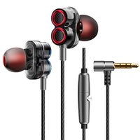 iphone kopfhörer hd großhandel-Dual Drive Stereo-Kopfhörer 3,5 mm In-Ear-Headset Ohrhörer Bass-Kopfhörer mit HD-Mikrofon für iPhone Samsung Huawei Xiaomi