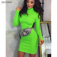 turtleneck dress venda por atacado-Zkyzwx primavera gola manga comprida bodycon dress mulheres elegante magro roupas de malha neon verde casual vestidos de festa vestidos