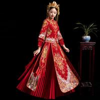 heiratkleid rot großhandel-Plus Size 3XL Braut Stickerei Cheongsam Vintage chinesischen Stil Hochzeitskleid Lady Phoenix Gown Ehe Qipao rote Kleidung