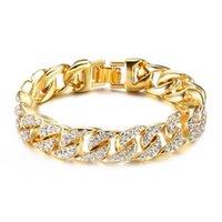 сталь х ювелирные изделия оптовых-(TB-0014) (22 см x 14 мм) титановая сталь 316L золотой цвет Heavey полные кристаллы браслеты ювелирные изделия для мужчин не выцветают