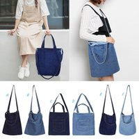 bolsas de lona denim venda por atacado-Mulheres Bolsas Saco Da Lona Do Mensageiro Denim Jean Art Shopping Mummy Ombro Mensageiro Blues Crossbody Bag bolsas Totes MMA1735