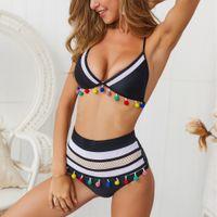 bikini mujer sexy redes al por mayor-2019 Mujeres europeas y americanas Moda Damas Bikini a rayas Hilados netos Bola con flecos Traje de baño sexy OS19001BLACK