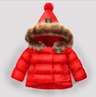 ingrosso giacche di pelliccia del neonato-bambini snowsuit 2019 inverno neonate cappotto invernale infantile abbigliamento bambini colletto di pelliccia con cappuccio giacca spessa baby girl boy vestiti