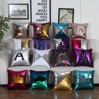 Wholesale throw pillow cushion covers kids resale online - DIY Letter Sequin Cushion Cover Magical Throw Pillowcase X40cm Color Changing Reversible Pillow Case For Home Decor Christmas