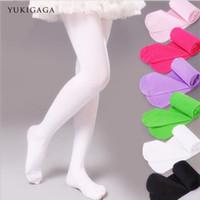 siyah ayaksız tozluklar toptan satış-Yukigaga Moda Çıplak Siyah Beyaz Ayaksız Çocuk Tayt Naylon Tayt Kız Çocuk Bale Dans Külotlu c25c