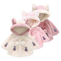 heiße mädchen fleece großhandel-Heißer süßer netter Mädchenpelzhaarvliesmantel-Mantelschaljacke der großen Ohren neues nachgemachtes Pelzhemd Kinddesignerkleidung M070