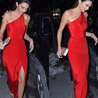 um vestido vermelho da bainha do ombro venda por atacado-Vestidos de Baile Vermelho de Um Ombro Prom Bainha Até O Chão Vestidos de Noite com Side Dividir Designer de Vestidos de Festa Mulheres Formal Wear