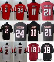 negro camiseta de julio jones al por mayor-Camisetas de los Atlanta Falcons de los hombres Ridley 11 Julio Jones 2 Matt Ryan 24 Devonta Freeman 21 Deion Sanders Home Red Black cosidas Jersey ventas