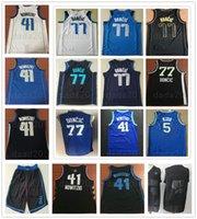 camisetas de baloncesto 41 al por mayor-Luka 77 Doncic Jersey cosido Azul marino Blanco Negro Dirk 41 Nowitzki Jerseys Jason 5 Kidd College Camiseta de baloncesto
