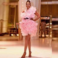 falda mini club sexy con volantes al por mayor-Capas Volantes Vestido de fiesta Vestidos de cóctel rosados Falda tutú de niñas africanas Mini vestidos cortos de desfile Vestidos de fiesta de graduación personalizados