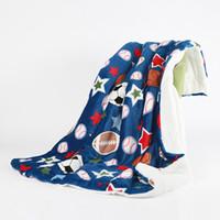 wolldecken großhandel-150 * 200cm Baseball Decke Digital Printing Sport Softball-Fußball-Fußball-Blankets Warm Doppel Teppich Plüsch Cape Wolle Handtuch heiß GGA2671
