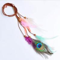 ingrosso fasce di nappa per le donne-Feather Headband - Colorful Boho Tassel Hair Bands Festival Bohemian Peacock Retro Accessori per capelli Copricapo per le donne Ragazze