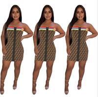 vestidos de verão de chiffon longo para mulheres venda por atacado-Womens verão designer dress 2019 marca casual impresso longos vestidos de luxo lettere ff padrão de corda roupas mulheres moda dress