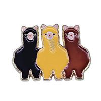 Wholesale llama decor resale online - Three alpacas friends brooch lovely llama BFF jewelry sweet clothes backpack decor