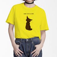 neue design-tops für mädchen großhandel-BGtomato A SAD CAT T-Shirt kreatives Design neuen Stil T-Shirt Frauen lustige Freizeithemden Mädchen schöne Katze Tops