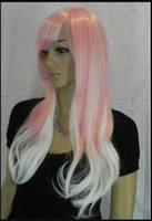 cabelo rosa branco venda por atacado-Peruca resistente ao calor Hot Party hairNew Fashion Pink e peruca branca