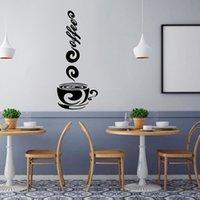 diseños de copa de vinilo al por mayor-Tazas de café Pegatinas de pared Diseño hermoso Tazas de té Decoración de la habitación Vinilo Arte Tatuajes de pared Pegatinas Pegatinas Decoración de la cocina 802