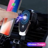 hava cihazları toptan satış-Kablosuz Araç Şarj 10 W Hızlı Kablosuz Şarj Araç Montaj Hava Firar Yerçekimi Tasarım Telefon Tutucu ip X tüm Qi Cihazları için Uyumlu