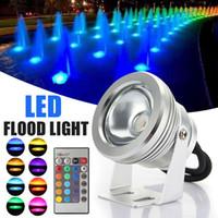 12v acuario luces led al por mayor-Lámpara subacuática LED RGB 16 colores 10W AC 12V IP65 a prueba de agua piscina estanque tanque de peces acuario lámpara de luz LED con control remoto