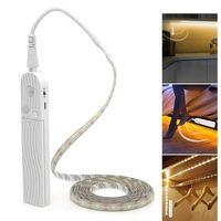küchenleuchten großhandel-LED Lichterketten Bewegungsmelder 1m 2m 3m Kabinett Lichtleiste Band unter Bett Lampe Seil Nachtlampe für Treppen Flur Schrank Küche