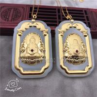 weiße jade anhänger großhandel-Natural White Hetian Jade + 18K Solid Gold Intarsien GuanYin Buddha Glück Amulett + Free Halskette Fine Jewelry Zertifikat