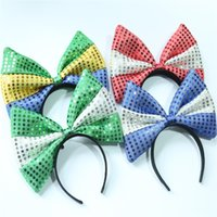 Wholesale white sequin material for sale – plus size Extra Large Bow Hair Band Sequin Hairs Hoop Girl Headband More Beautiful Cloth Material Green White jy C1