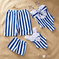 Wholesale dad son clothes for sale - Group buy beach family swimwear striped matching swimsuit mother daughter bikini dad son swim trunks family matching clothes outfits look