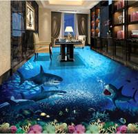 wandküche großhandel-Benutzerdefinierte 3D Wand Boden Tapete Shark Unterwasserwelt wasserdicht für Badezimmer 3D Boden Wandaufkleber Vinyl Küche Wand Papier