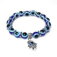 pavo bangle al por mayor-Moda malvado de Turquía Blue Eyes perlas pulseras encantos Hombres Mujeres Religiosas Mano de Hamsa los brazaletes joyería al por mayor