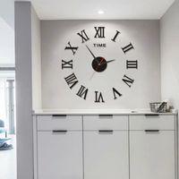 Modern 3D DIY Roman numbers Mirror Surface Wall Clock Sticker Home Office Room DIY Decor
