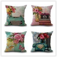 Wholesale cushion covers shipping for sale - Group buy Retro style pillow case cm phone camera printing pillow cover cotton and linen sofa cushion cover pillowcase