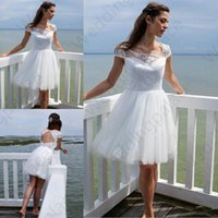 Wholesale knee length wedding dresses for sale - Short BeachLace Wedding Dresses Newest Summer Scoop Neck A Line Knee Length Tulle Bridal Gowns Vestido De Noiva