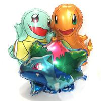 pequeños animales lindos al por mayor-2019 Pikachu Jenny Turtle Miao Frog Seed Pequeño Fire Dragon Globo de aluminio Animal lindo Globo de aire Cuatro tipos de selecciones Niños mejor regalo