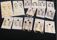 taklit küpe saplamaları toptan satış-Marka Klasik Kristal Mektubu Saplama Küpe Moda Takı Kadınlar Için Bildirimi İmitasyon İnci Küpe Takı