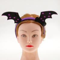 cintas de cosplay al por mayor-Nueva llegada Negro Evil Bat Headbands Y Wing Set Halloween Bat Fairy Hairbands Fiesta de Halloween Cosplay Girls Accesorios para el cabello