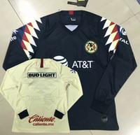 camisas de manga longa mx venda por atacado-Liga MX 2019 2020 Club América manga comprida Camisas de Futebol MATEUS O.LAINEZ R.MARTINEZ casa longe 19 20 camisa cheia de futebol S-3XL