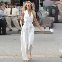 pantalón blanco sin mangas al por mayor-2019 moda nuevo modelo ángel traje cuello sin mangas cintura blanca con temperamento pantalones de pierna ancha Monos Mamelucos