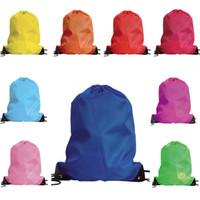 özelleştirilmiş koşu torbaları toptan satış-210D logo Kolay Taşıma Işık Ucuz eko açık spor seyahat boş dokunmamış polyester ambalaj çanta promosyon özelleştirilmiş sırt çantası İpli çanta
