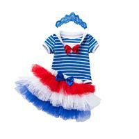 bebek donanma kıyafeti toptan satış-Perakende kızlar butik kıyafetler yaz 3 adet etekler set bebek eşofman donanma yay şerit romper + altı katmanlı örgü etek + kafa çocuk giyim setleri