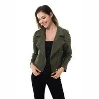 элегантная женская кожаная куртка оптовых-Apperloth Suede Leather Blazers Coat Women 2019 Fashion Zipper Pockets Ruched Ladies Outerwear Casual Elegant Office Jacket Coat