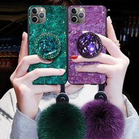 Wholesale ball holder phone for sale – best Diamond Hair Ball Lanyard Bracket Soft designer phone case coque iphone pro max case x xs xr max D Bling Holder cover iphone case